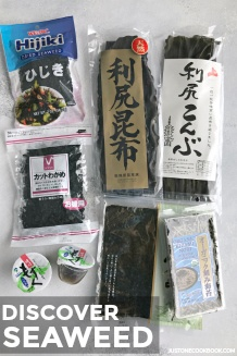 Various kinds of seaweed presented on the table, including nori, wakame, hijiki, and kombu.