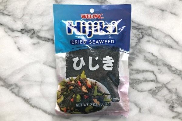 Dried Hijiki seawweed in a bag.