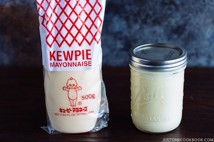 Homemade Japanese mayonnaise on the counter next to Kewpie Mayonnaise.