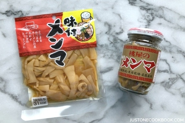 Menma (seasoned bamboo shoot) in a package