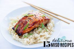 Miso salmon on ginger rice sprinkled with green onions.