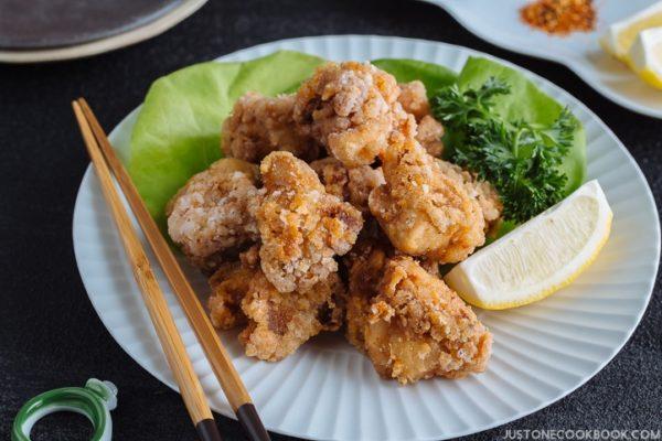 Gluten Free Karaage (Japanese Fried Chicken) on a white plate.