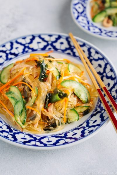 Harusame Salad (Japanese Glass Noodle Salad) on a blue and white plate.