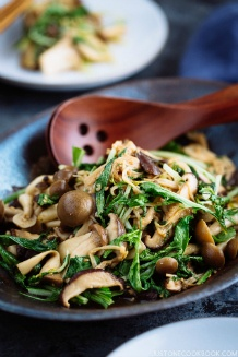 Warm Mushroom Salad with Sesame Dressing きのこの胡麻和え温サラダ | Easy Japanese Recipes at JustOneCookbook.com