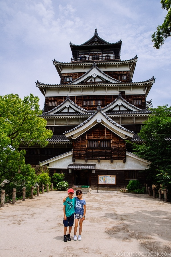 view of children in front of Hiroshima Castle | JustOneCookbook.com