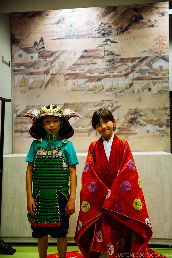 children wearing costumes inside Hiroshima Castle | JustOneCookbook.com