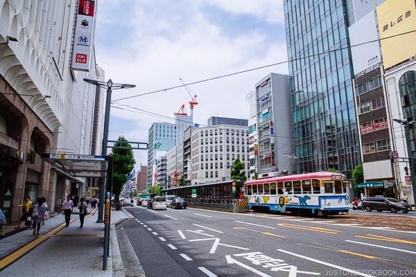 View of downtown Hiroshima with streetcar | Hiroshima Japan Guide JustOneCookbook.com
