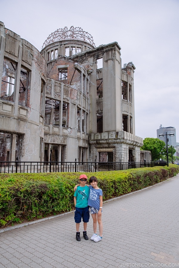 children standing in front of atomic bomb dome | JustOneCookbook.com