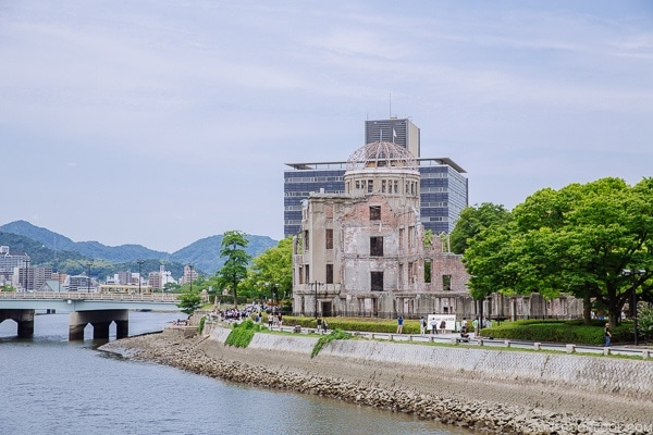 view of atomic bomb dome from across the river | JustOneCookbook.com