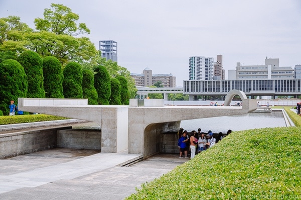 view of peace flame and Hiroshima Peace Memorial Museum | JustOneCookbook.com
