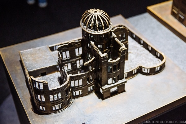metal replica of Hiroshima Prefectural Industrial Promotion Hall after atomic bomb | JustOneCookbook.com