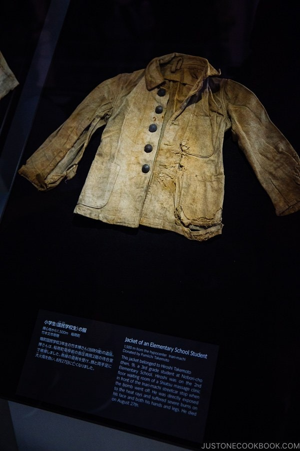 jacket of elementary student inside Hiroshima Peace Memorial Museum | JustOneCookbook.com