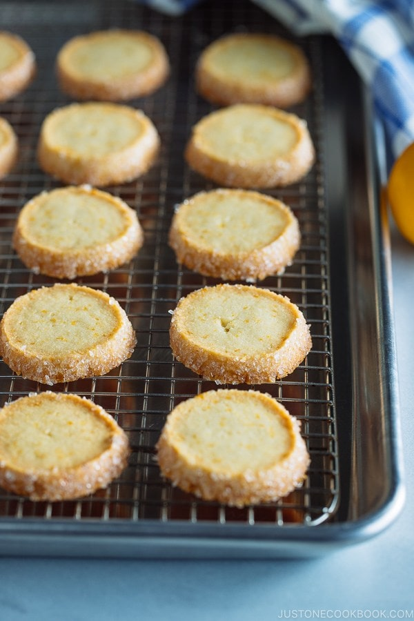 Meyer Lemon Sables on a baking sheet.