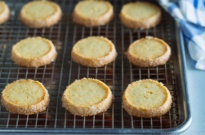 Meyer Lemon Sables on a baking sheet.