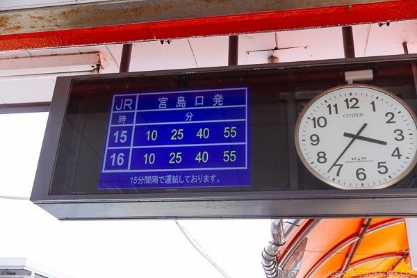 ferry timetable at Miyajima ferry terminal | JustOneCookbook.com