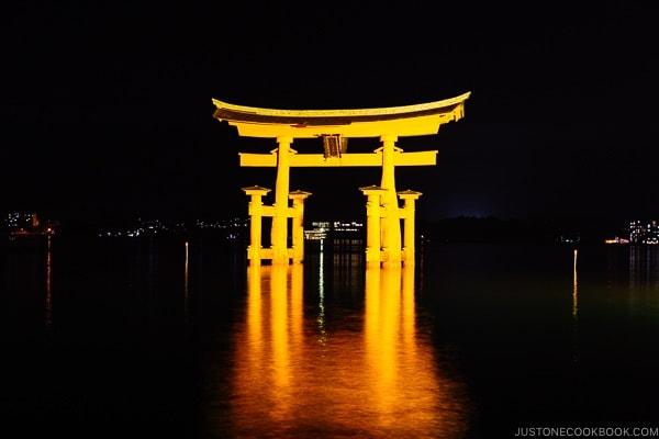 nighttime view of Torii gate at Itsukushima Shrine | JustOneCookbook.com