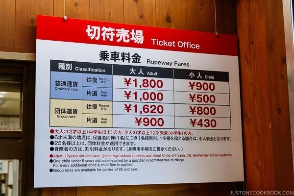 price chart for Miyajima Ropeway | JustOneCookbook.com