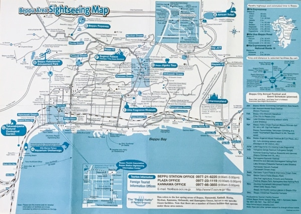 Beppu Area Sightseeing Map - Beppu travel guide | justonecookbook.com