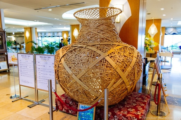 bamboo art work Suginoi Hotel Beppu - Beppu travel guide | justonecookbook.com