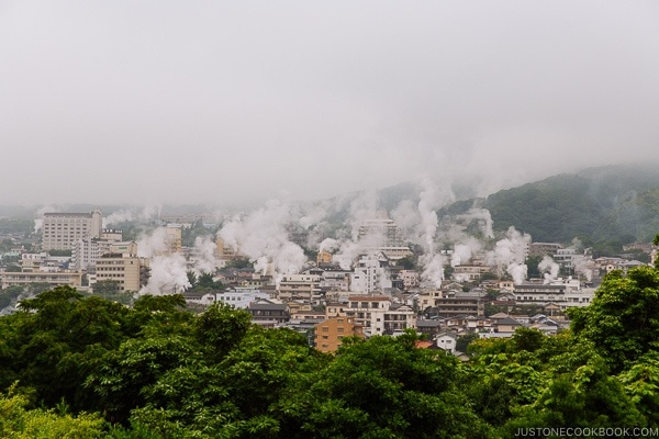 natural steam releasing from the ground - Beppu travel guide | justonecookbook.com