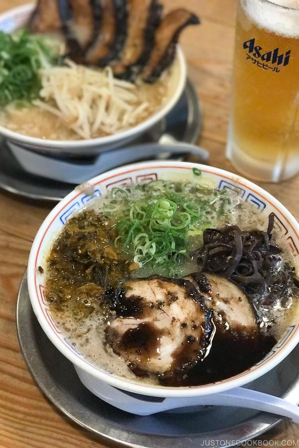 ramen and beer at Hakata Daruma - Fukuoka Travel Guide   justonecookbook.com