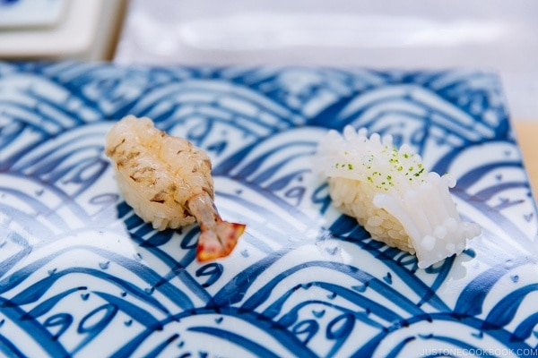 shrimp and squid sushi at Sushi Yamanaka - Fukuoka Travel Guide | justonecookbook.com