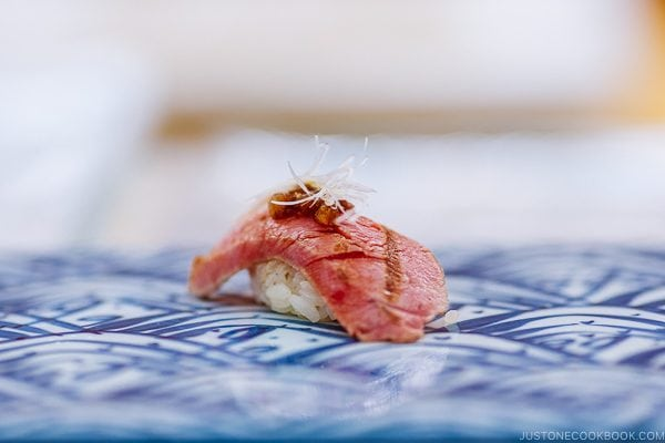 seared toro sushi at Sushi Yamanaka - Fukuoka Travel Guide | justonecookbook.com
