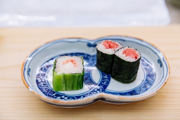 rolled sushi at Sushi Yamanaka - Fukuoka Travel Guide   justonecookbook.com