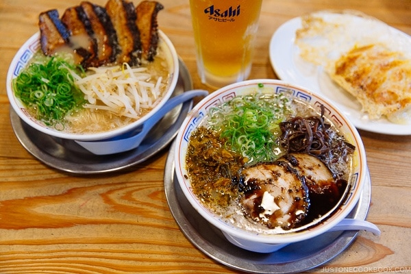 2 bowls of ramen at Hakata Daruma Ramen - Fukuoka Travel Guide | justonecookbook.com