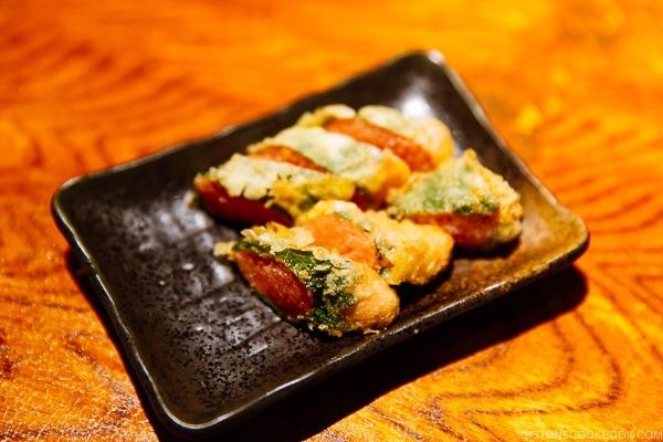 mentaiko (cod roe) tempura at ねぎぼうず Negibouzu Izakaya - Kumamoto Travel Guide | justonecookbook.com