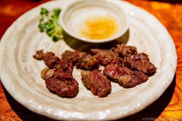 grilled horse meat at ねぎぼうず Negibouzu Izakaya - Kumamoto Travel Guide | justonecookbook.com