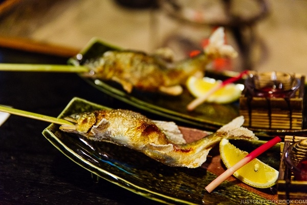 grilled sweetfish at Shinmei-kan 山の宿 新明館 Kurokawa Onsen Travel Guide | justonecookbook.com