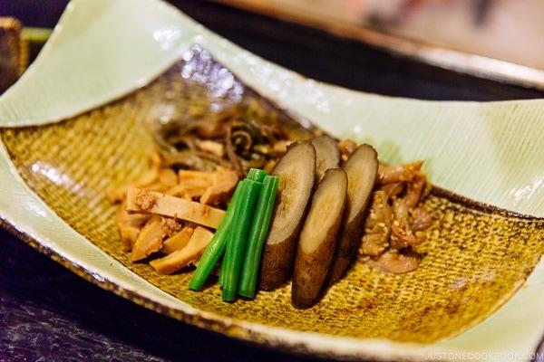 vegetable appetizer at Shinmei-kan 山の宿 新明館 Kurokawa Onsen Travel Guide   justonecookbook.com