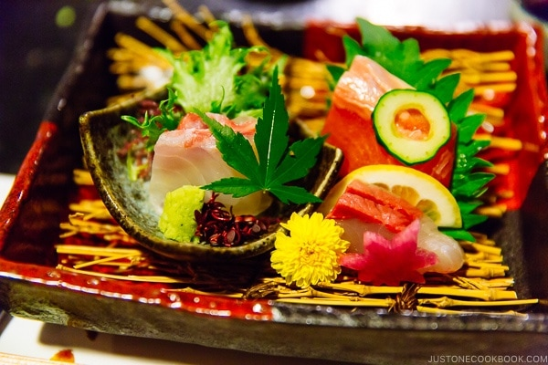 sashimi during dinner at Shinmei-kan 山の宿 新明館 Kurokawa Onsen Travel Guide | justonecookbook.com