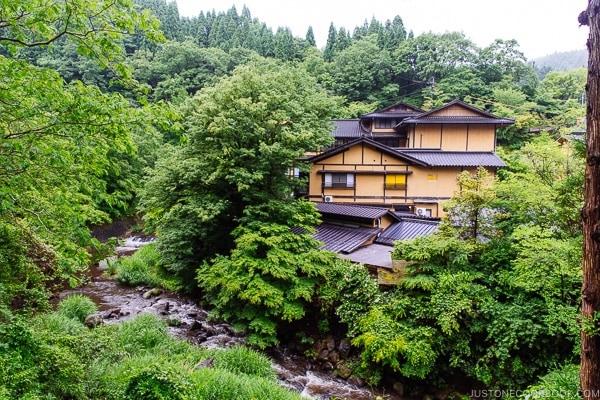 forest, river, and hotel view Kurokawa Onsen Travel Guide   justonecookbook.com