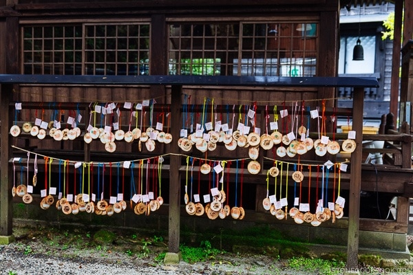 Kurokawa onsen passes hanging at shrine Kurokawa Onsen Travel Guide | justonecookbook.com