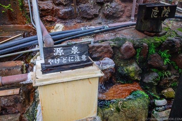 hot spring source Shinmei-kan 山の宿 新明館 Kurokawa Onsen Travel Guide | justonecookbook.com