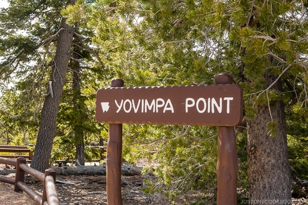 Yovimpa Point sign - Bryce Canyon National Park Travel Guide | justonecookbook.com