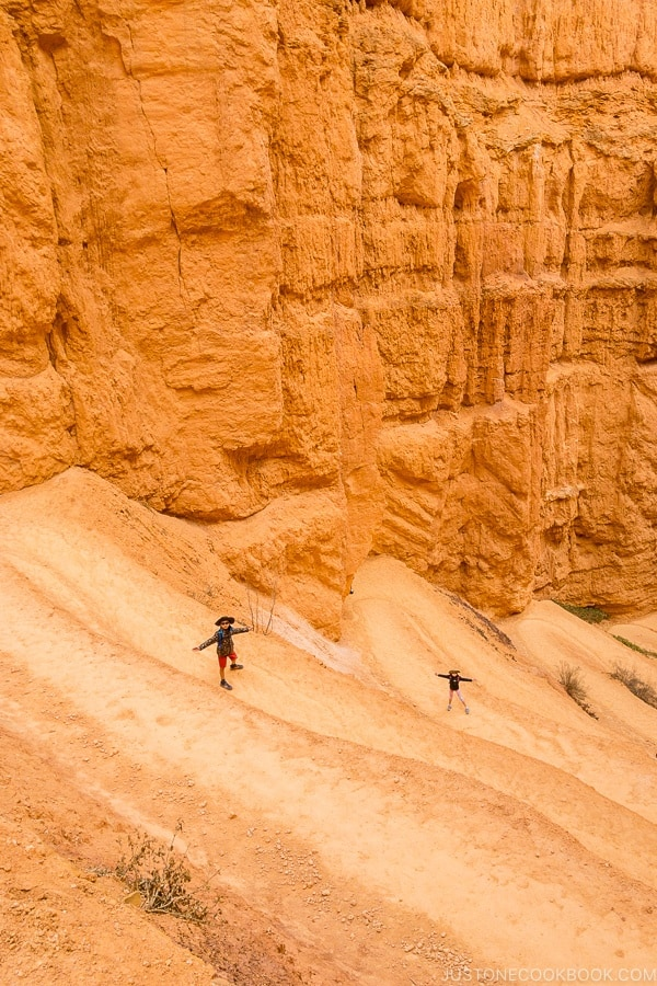 children hiking on switchbacks on Navajo Loop - Bryce Canyon National Park Travel Guide | justonecookbook.com