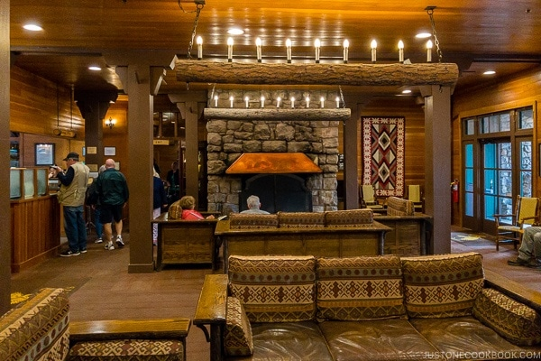 inside the Bryce Canyon Lodge lobby area - Bryce Canyon National Park Travel Guide | justonecookbook.com