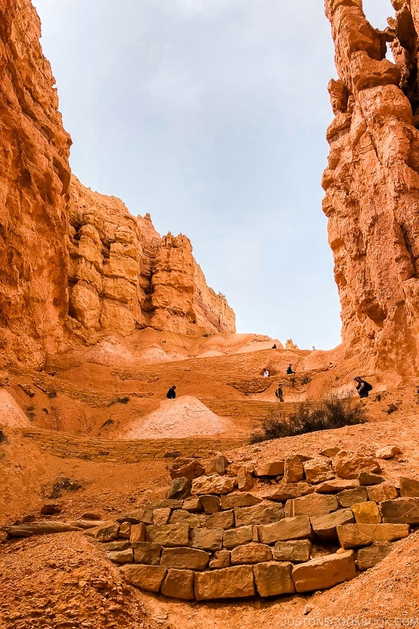 looking up at switchbacks on Navajo Loop - Bryce Canyon National Park Travel Guide | justonecookbook.com