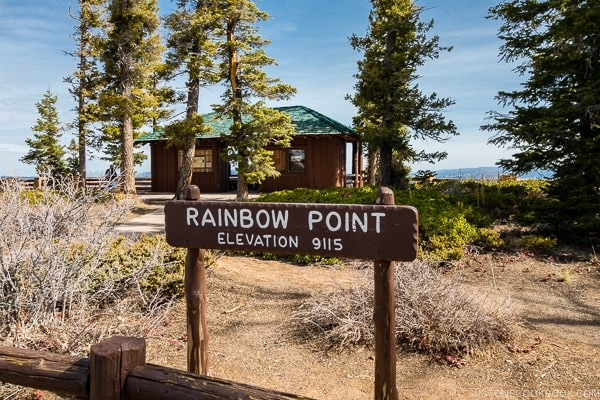 view of Rainbow Point sign - Bryce Canyon National Park Travel Guide | justonecookbook.com