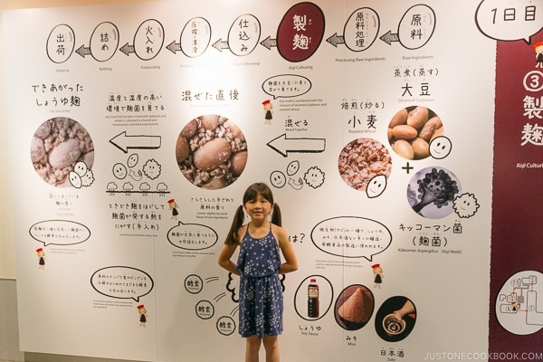 child in front of sign explaining koji and culturing for brewing soy sauce at Kikkoman Factory in Noda Japan | justonecookbook.com