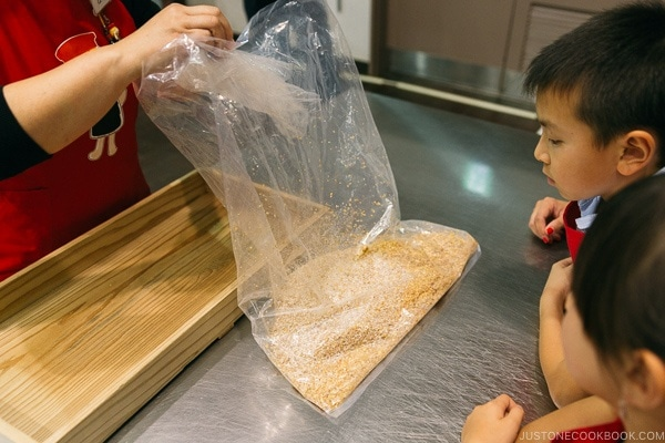 children learning how soy sauce is made at Kikkoman Factory in Noda Japan | justonecookbook.com