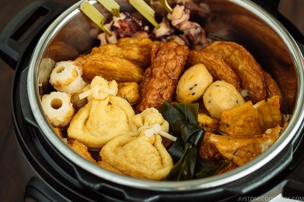 Oxtail Oden (Japanese Fish Cake Stew) being cooked in an Instant Pot