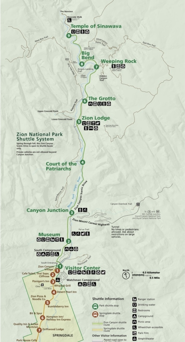 Zion National Park Shuttle System Map