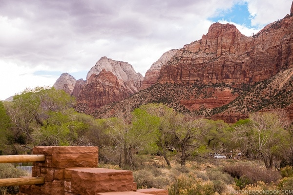 view of the hills to the right from the entrance of Zion - Zion National Park Travel Guide | justonecookbook.com