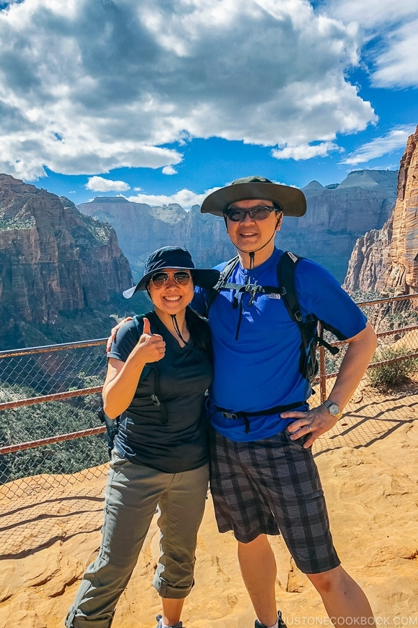 Nami and Mr. JOC at the end of Canyon Overlook Trail - Zion National Park Travel Guide | justonecookbook.com