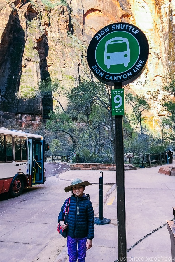 shuttle sign at stop 9 - Zion National Park Travel Guide | justonecookbook.com