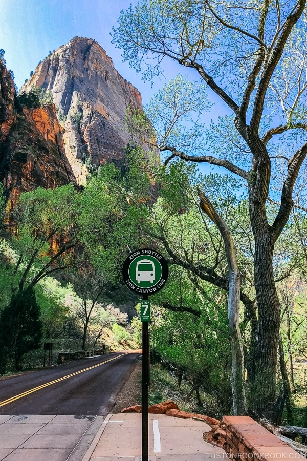 shuttle sign at stop 7 - Zion National Park Travel Guide | justonecookbook.com